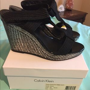 Calvin Klein Black and White Wedges